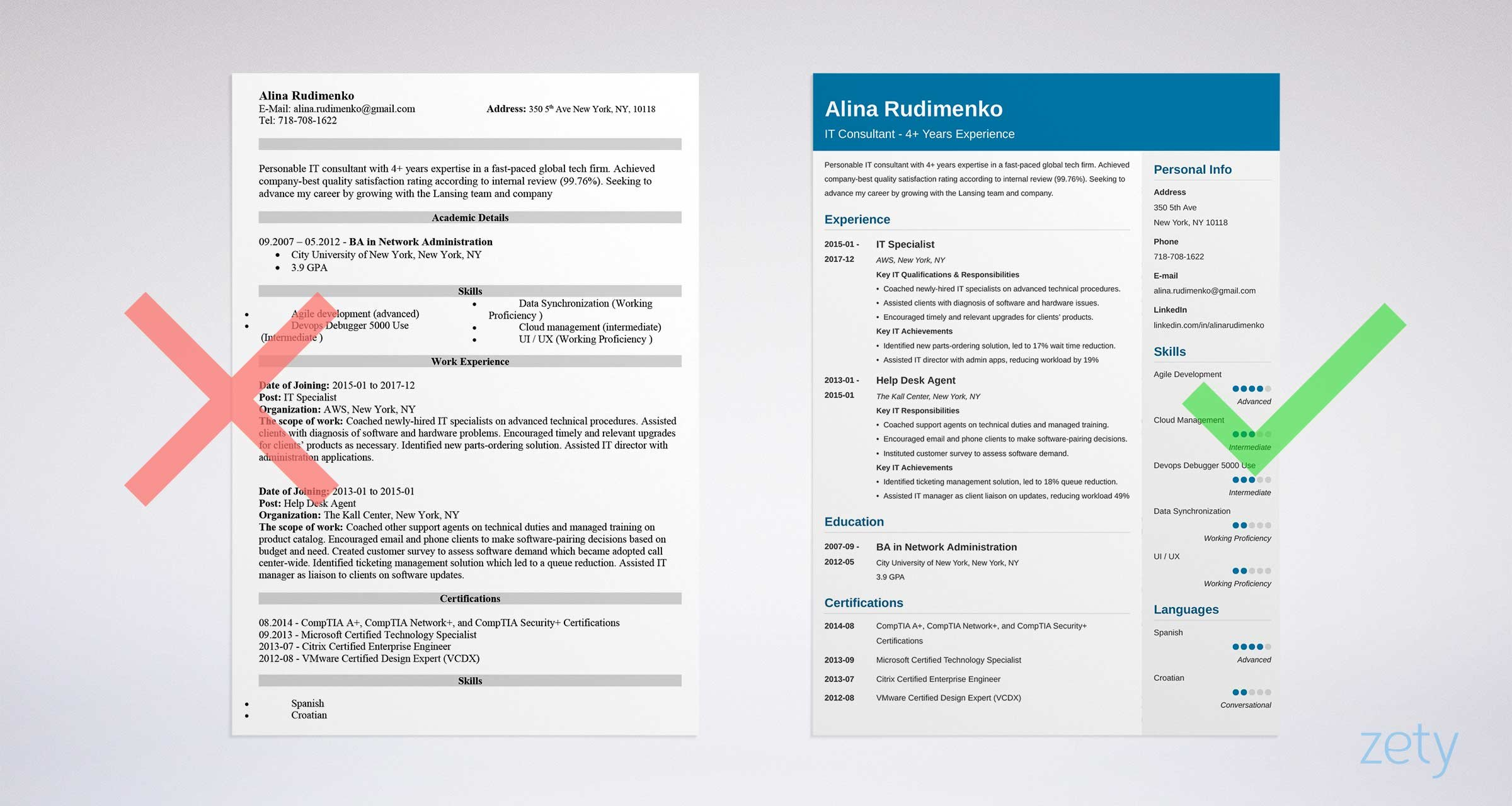 professional it resume templates